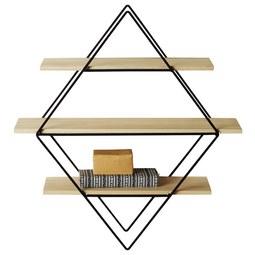 Wandregal Schwarz/Naturfarben - Schwarz/Naturfarben, MODERN, Holz/Metall (56/61/15cm) - Modern Living