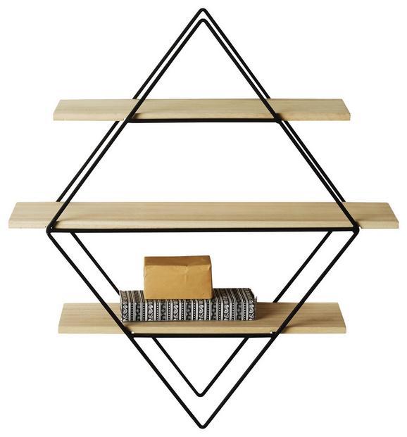 Wandregal Schwarz/Naturfarben - Schwarz/Naturfarben, MODERN, Holz/Metall (15/61/56cm) - Modern Living