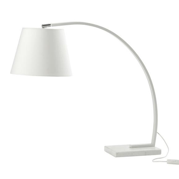 TISCHLEUCHTE max. 60 Watt 'Alexa' - Weiß, MODERN, Kunststoff/Stein (80/30/70cm) - Bessagi Home