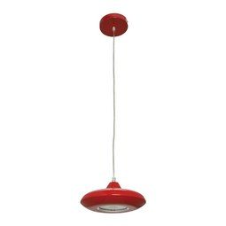 LED-Hängeleuchte max. 10 Watt 'Leah' - Rot, MODERN, Glas/Kunststoff (21/21/180cm) - Bessagi Home