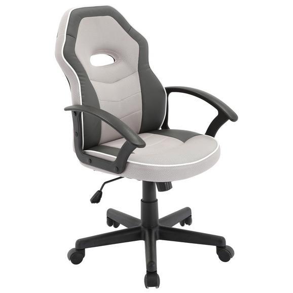 Scaun Rotativ Rico - alb/negru, Modern, plastic/metal (56,5/95-105/61cm) - Modern Living