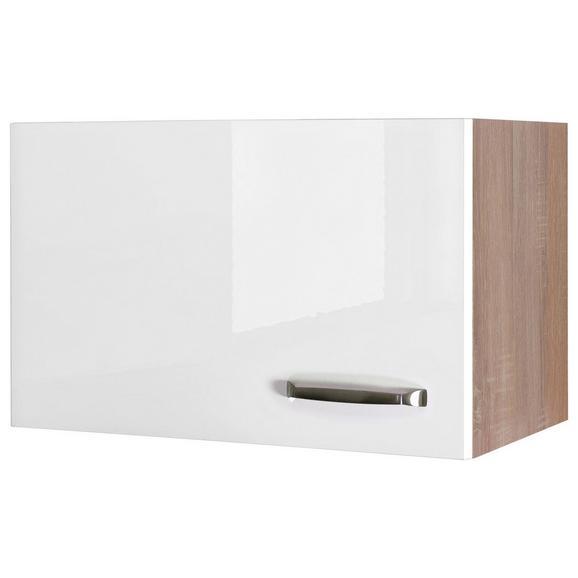 Küchenoberschrank Weiß Hochglanz/Eiche - Edelstahlfarben/Eichefarben, MODERN, Holzwerkstoff/Metall (60/32/32cm) - FlexWell.ai