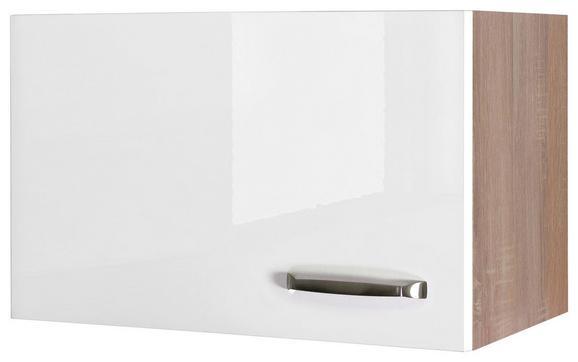 Küchenoberschrank Weiß Hochglanz/Eiche - Edelstahlfarben/Eichefarben, MODERN, Holzwerkstoff/Metall (60/32/32cm)