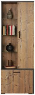 Vitrine Grau/fichte - Fichtefarben/Schwarz, MODERN, Holzwerkstoff/Kunststoff (68/192/40cm) - Mömax modern living