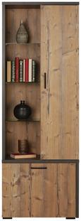 Vitrine Grau/fichte - Fichtefarben/Schwarz, MODERN, Holzwerkstoff/Kunststoff (70/192/40cm) - Mömax modern living