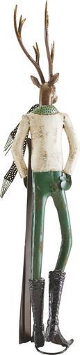 Dekohirsch Skilehrer - Silberfarben/Weiß, MODERN, Metall (24,15/21/87,5cm) - MÖMAX modern living