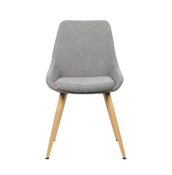 Stuhl Simone - Hellgrau/Braun, MODERN, Textil/Metall (48/85/55cm) - MÖMAX modern living