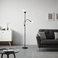 Stehleuchte Vanessa, max. 60 Watt - Schwarz/Weiß, KONVENTIONELL, Kunststoff/Metall (28/175cm) - Modern Living