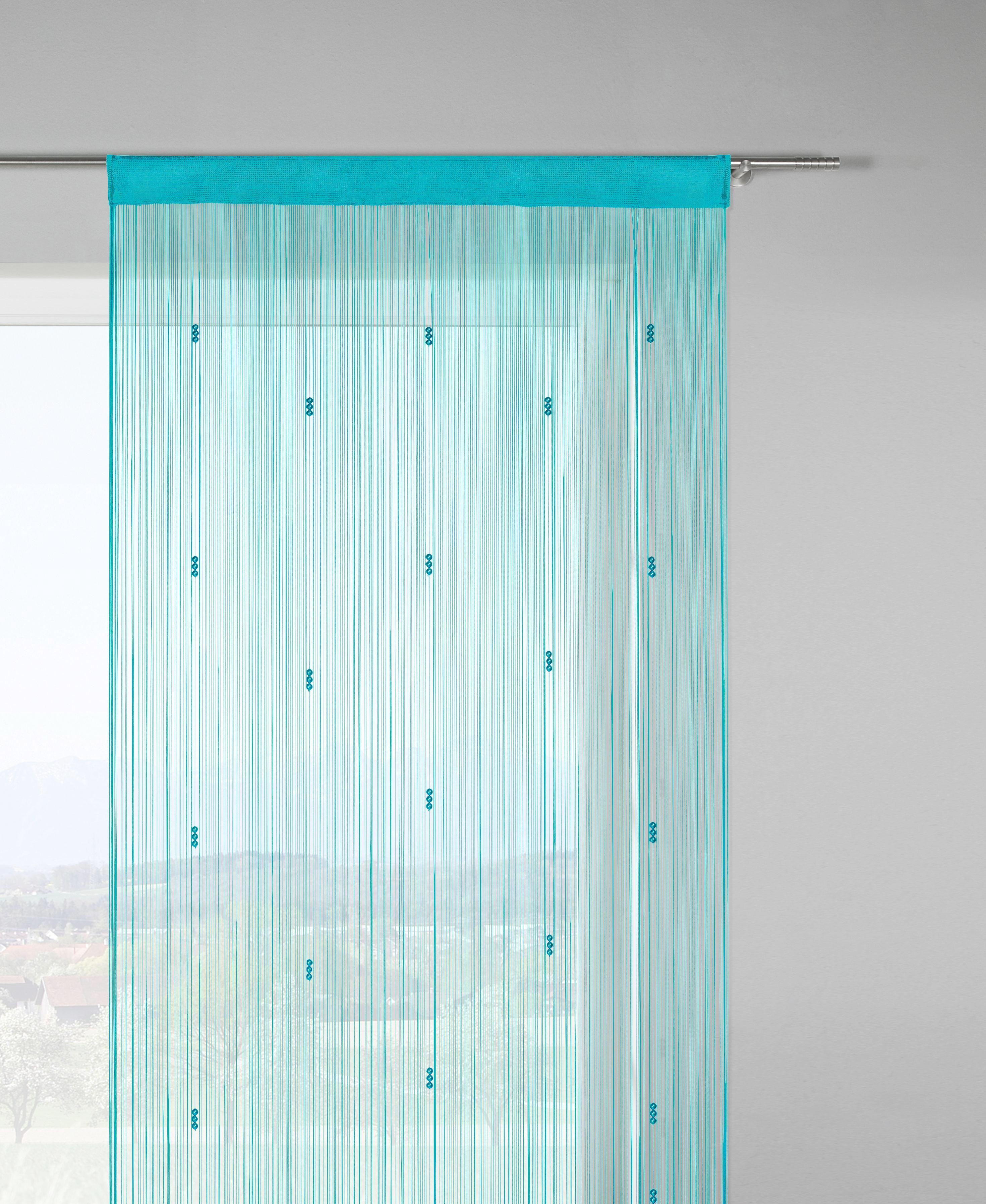 Zsinórfüggöny Perle - petrol/rózsaszín, romantikus/Landhaus, textil (90/245cm) - MÖMAX modern living