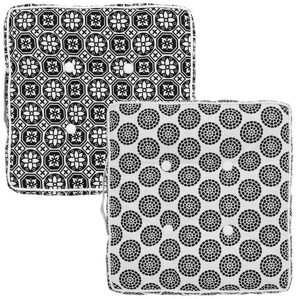 Boxkissen Shiva, ca. 40x40cm - Schwarz/Weiß, LIFESTYLE, Textil (40/40cm) - Mömax modern living