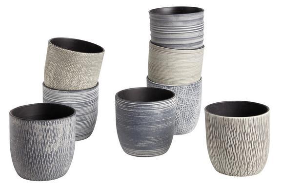Übertopf Susi aus Keramik - Hellgrau/Grau, ROMANTIK / LANDHAUS, Keramik (14/13cm) - Mömax modern living