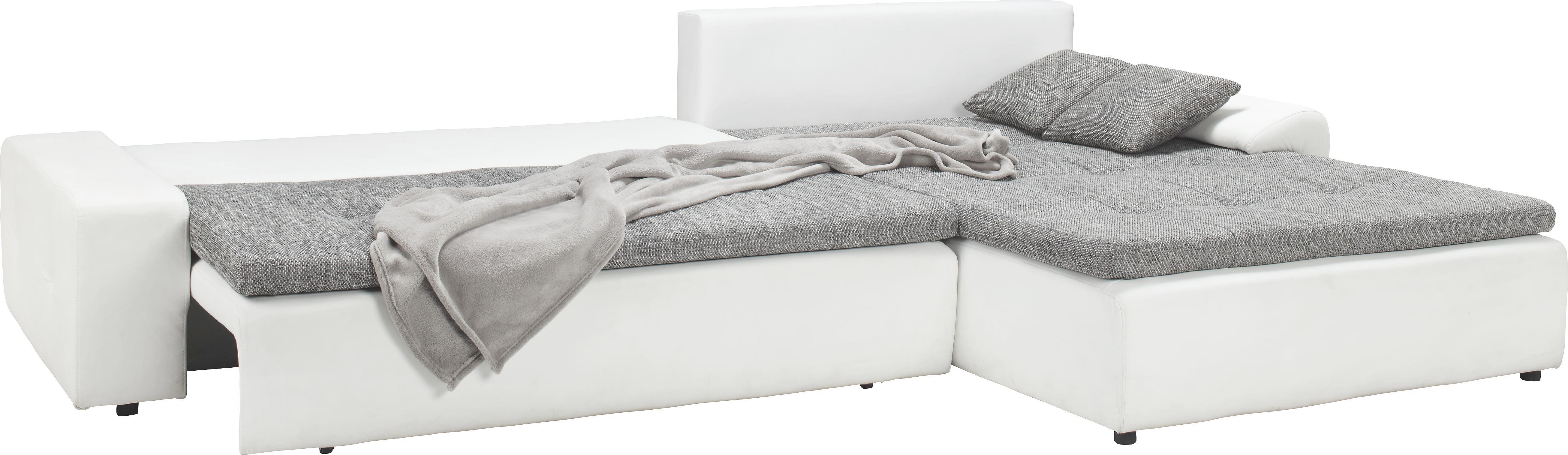 Wohnlandschaft Grau mit Bettfunktion - Schwarz/Weiß, KONVENTIONELL (310/80/211cm) - MODERN LIVING