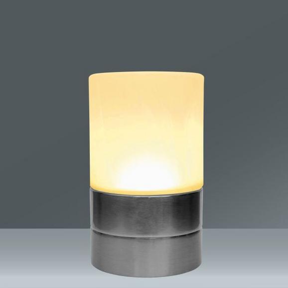 Tischleuchte Jovo, max. 4 Watt - Weiß/Nickelfarben, Glas/Kunststoff (9/9/14,8cm) - Mömax modern living