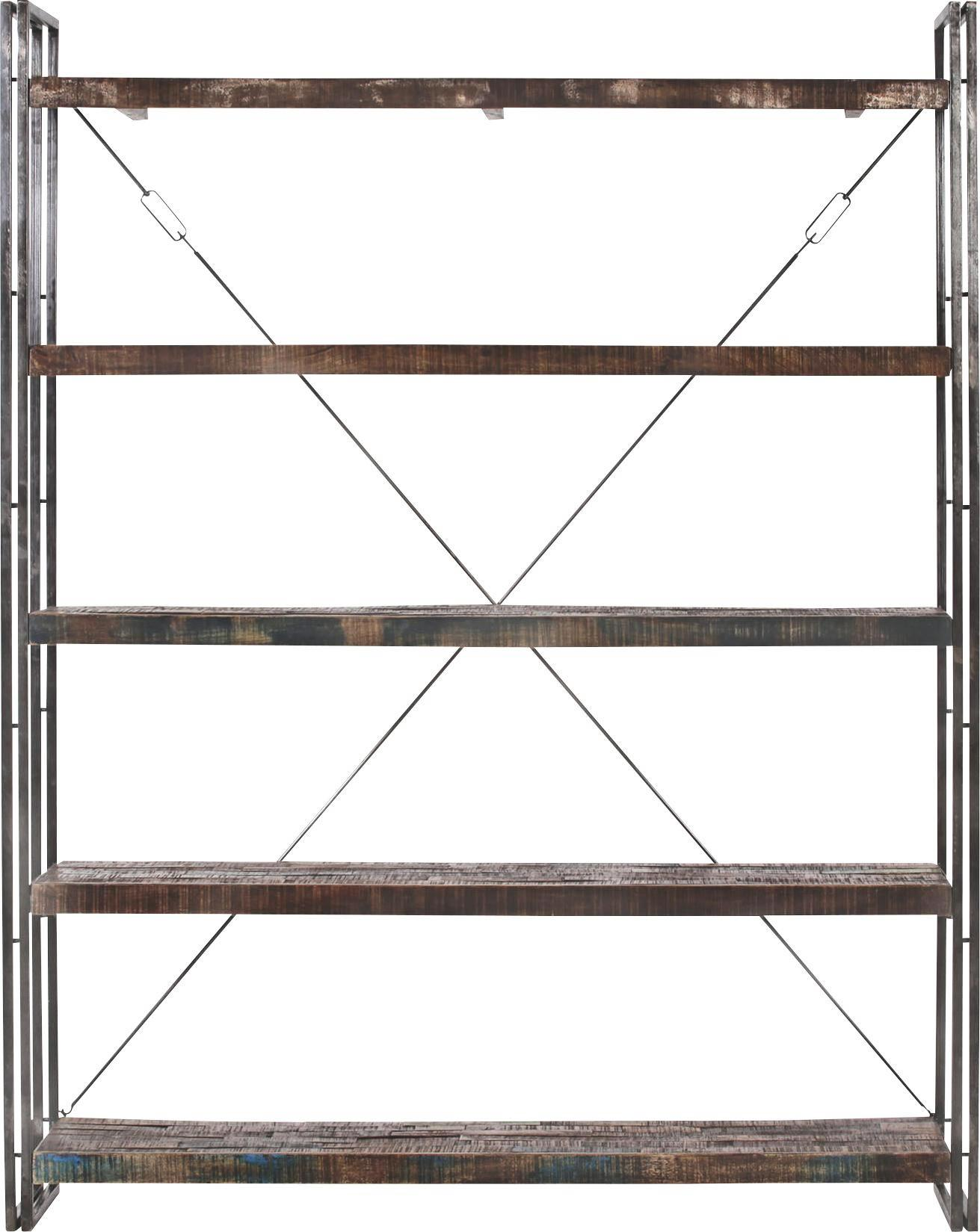 Regal aus Metall in Antik - Dunkelbraun, LIFESTYLE, Holz/Metall (160/200/40cm) - PREMIUM LIVING