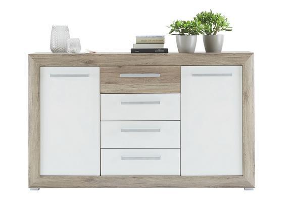 Sideboard in Eiche/Weiß Hochglanz - Chromfarben/Eichefarben, KONVENTIONELL, Holzwerkstoff/Kunststoff (151/91/37cm) - BASED