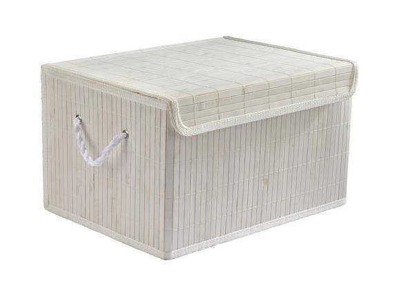Košara Bamboo White - bela, tekstil/les (41/31/24cm) - Mömax modern living