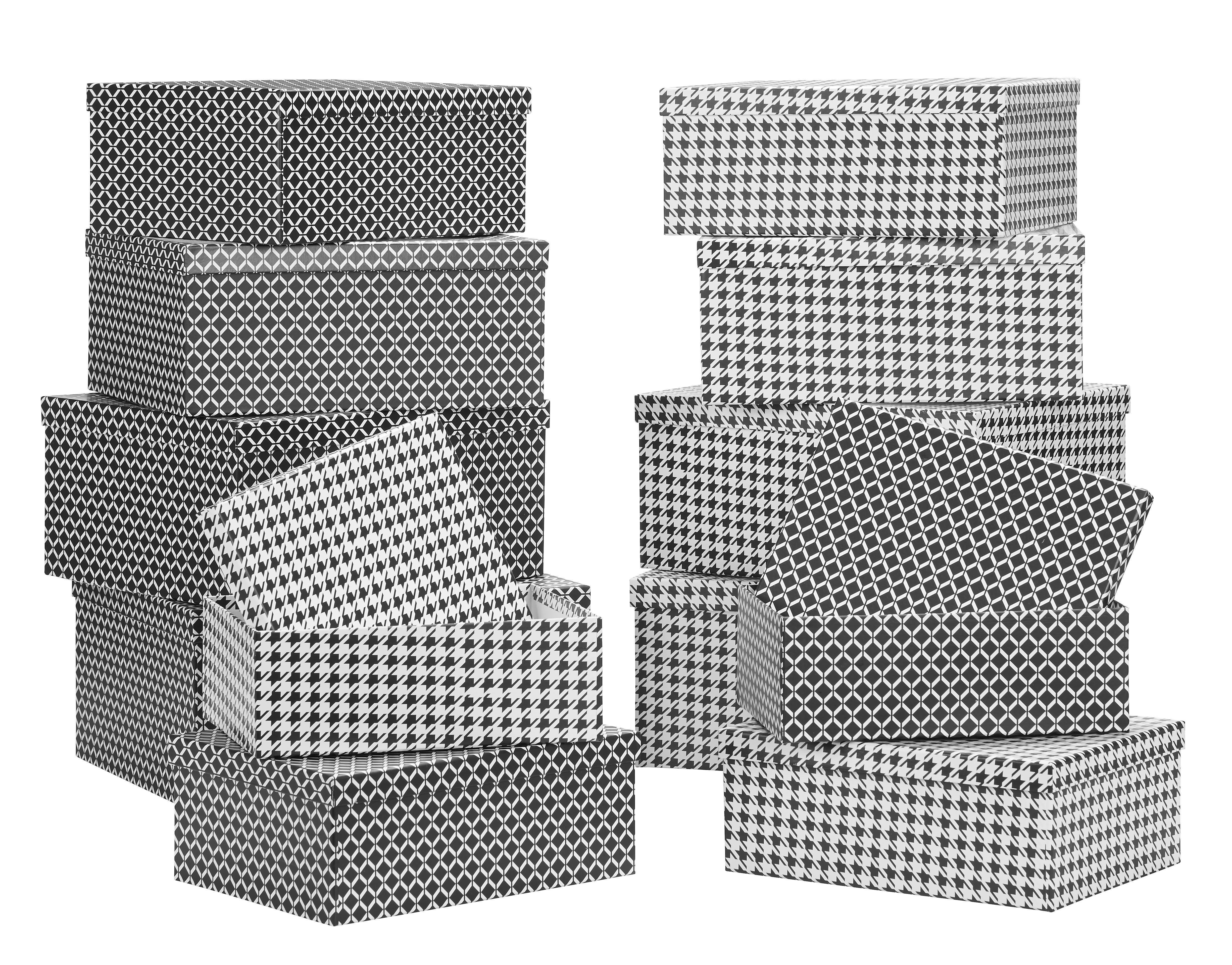 Box mit Deckel Paul aus Papier ca. 38x30x17cm - Schwarz/Weiß, Papier (38/30/17,5cm) - MÖMAX modern living