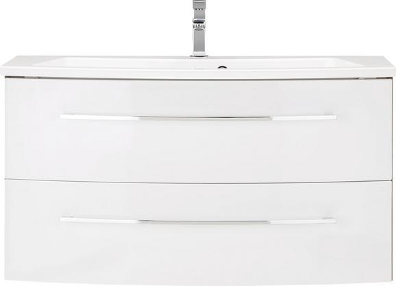 Waschtischkombi in Weiß/Walnussfarben - Chromfarben/Walnussfarben, MODERN, Holzwerkstoff/Weitere Naturmaterialien (100/52/42cm) - PREMIUM LIVING