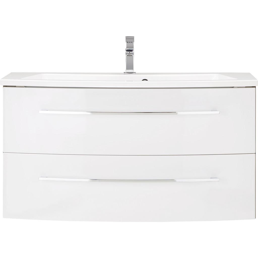 Waschtischkombi Weiß/Walnussfarben