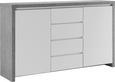 Sideboard Weiß Hochglanz/Betonoptik - Weiß, MODERN, Holzwerkstoff (164/95/40cm) - Mömax modern living
