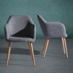 Armlehnstuhl Ilona - Buchefarben/Grau, MODERN, Holz/Textil (57/90/45cm) - Mömax modern living