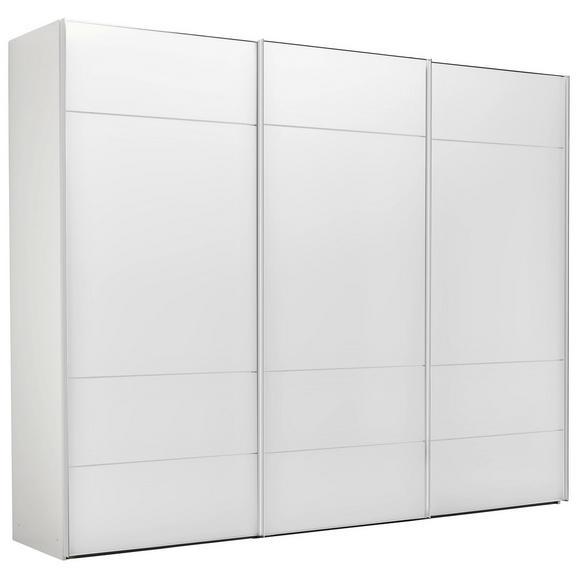 Schwebetürenschrank in Weiß - Chromfarben/Weiß, LIFESTYLE, Glas/Holzwerkstoff (298/240/68cm) - Premium Living