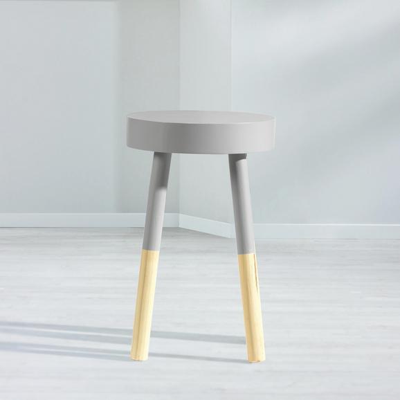 Hocker Frenzy - Naturfarben/Grau, Holz (30/48/30cm) - Mömax modern living