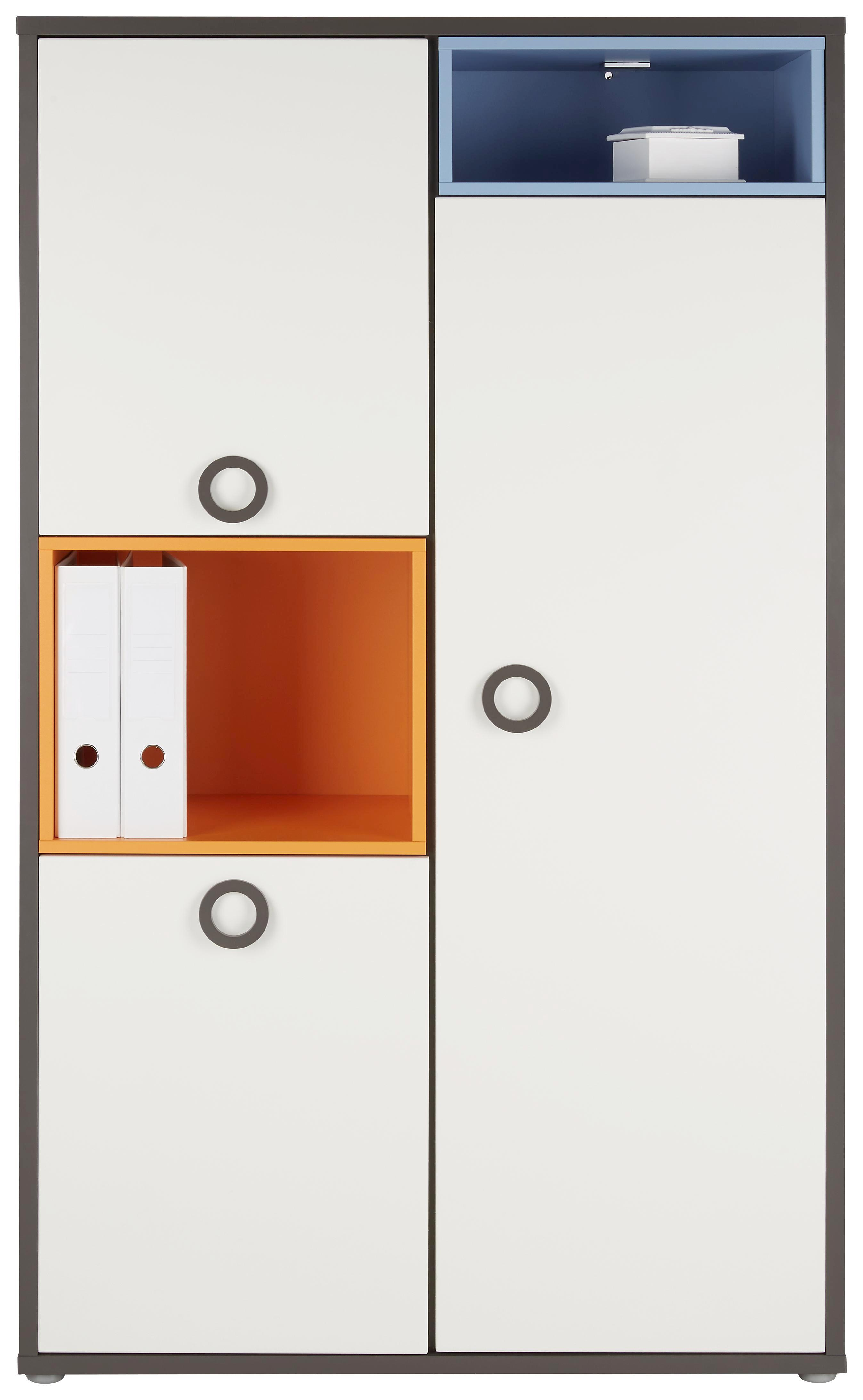 Highboard in Weiß/Grau/orange/blau - Blau/Alufarben, KONVENTIONELL, Holzwerkstoff/Kunststoff (95/160/42cm) - MODERN LIVING