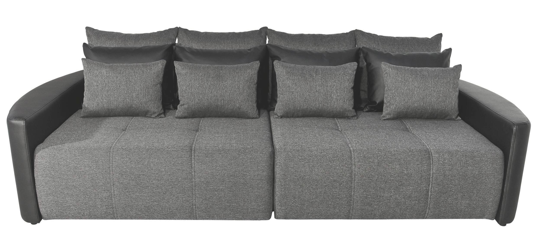 Mega Kanapé Pura - fekete/sötétszürke, modern, textil/fa (290/80/140cm)