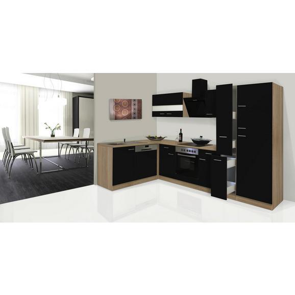 Küchenblock ECONOMY L 310 - Eichefarben/Schwarz, KONVENTIONELL, Glas/Holzwerkstoff (172/310cm) - Livetastic