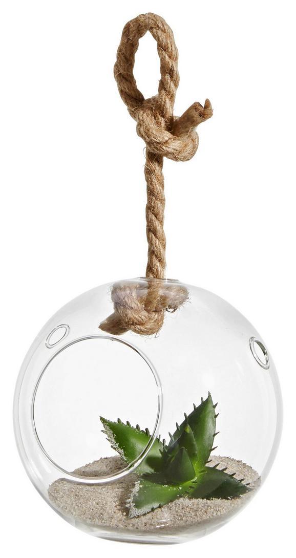 Dekohänger Kelly aus Glas - Transparent/Naturfarben, ROMANTIK / LANDHAUS, Glas/Textil (13/12/12,5cm)