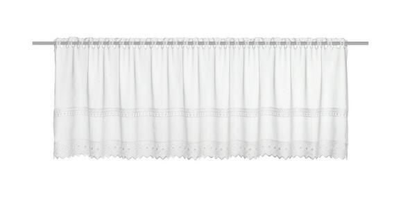 Vitrázsfüggöny Fehér Csipkedíszítéssel - fehér, romantikus/Landhaus, textil (150/47cm) - MÖMAX modern living