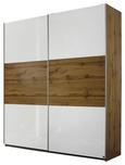 Schwebetürenschrank Eichefarben Hg/Weiß - Eichefarben/Alufarben, Holz/Holzwerkstoff (175/210/59cm) - Modern Living