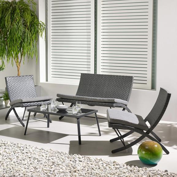 Loungegarnitur Luan inkl. Auflagen - Grau, MODERN, Glas/Kunststoff - MODERN LIVING