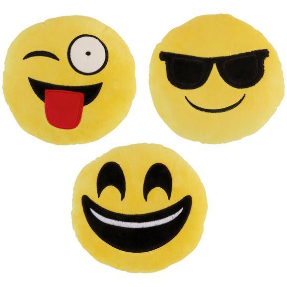 Okrasna Blazina Emoji -ext- - rumena, tekstil (20cm) - Mömax modern living