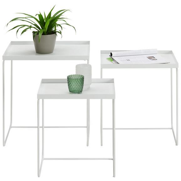 Beistelltischset aus Metall in Weiß 3-teilig - Weiß, MODERN, Metall (45,5/50/55/30/35/40/40/45/50cm) - Modern Living