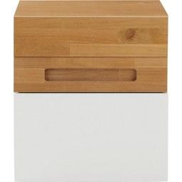 Nachtkästchen in Weiß/Eichefarben - Eichefarben/Weiß, KONVENTIONELL, Holz/Holzwerkstoff (50/55/40cm) - ZANDIARA