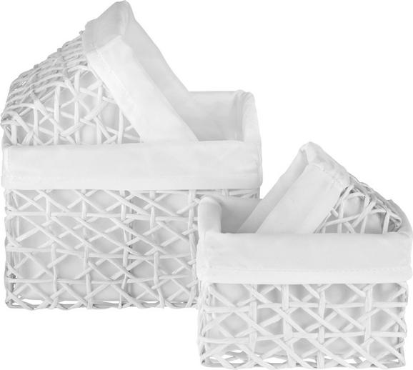 Korb Pia Weiß, 4-teilig - Weiß, ROMANTIK / LANDHAUS, Papier/Metall (21/18/14cm) - Zandiara