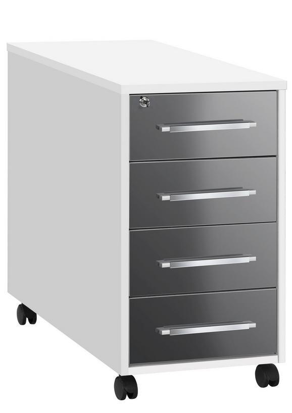 Anstellcontainer in Grau/Weiß - Alufarben/Weiß, MODERN, Holzwerkstoff/Kunststoff (43/75/80cm) - Mömax modern living
