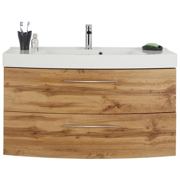 Waschtischkombi Eichefarben - Chromfarben/Eichefarben, MODERN, Holzwerkstoff/Weitere Naturmaterialien (100/54/47cm)