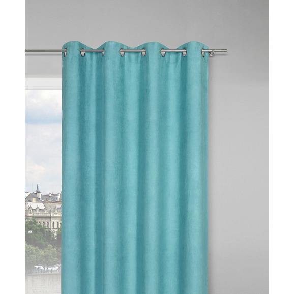 Zavesa Z Obročki Velours -top- - turkizna, Konvencionalno, tekstil (140/245cm) - Mömax modern living