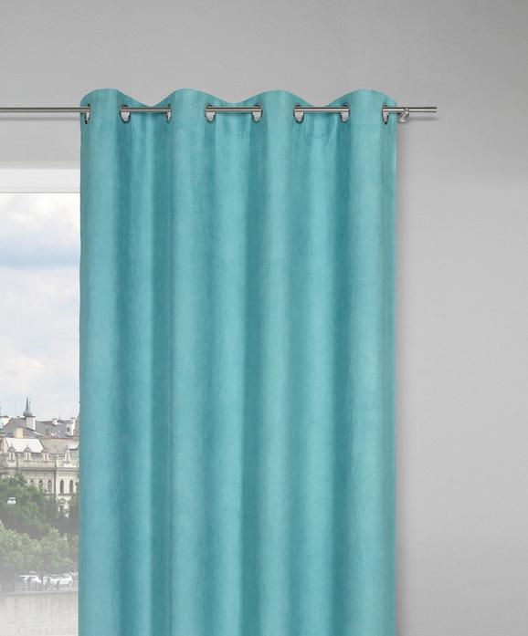 Zavesa Z Obročki Velours - turkizna, Konvencionalno, tekstil (140/245cm) - Mömax modern living