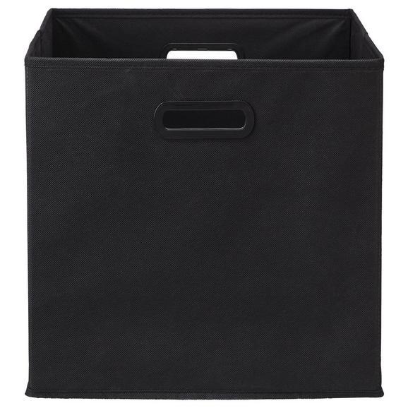 Faltbox Elli in Schwarz ca. 33x33x32cm - Schwarz, MODERN, Karton/Textil (33/33/32cm) - Modern Living
