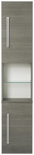 Hochschrank Mooreichefarben - Chromfarben/Mooreichefarben, MODERN, Glas/Holzwerkstoff (35,5/169/32cm) - Premium Living