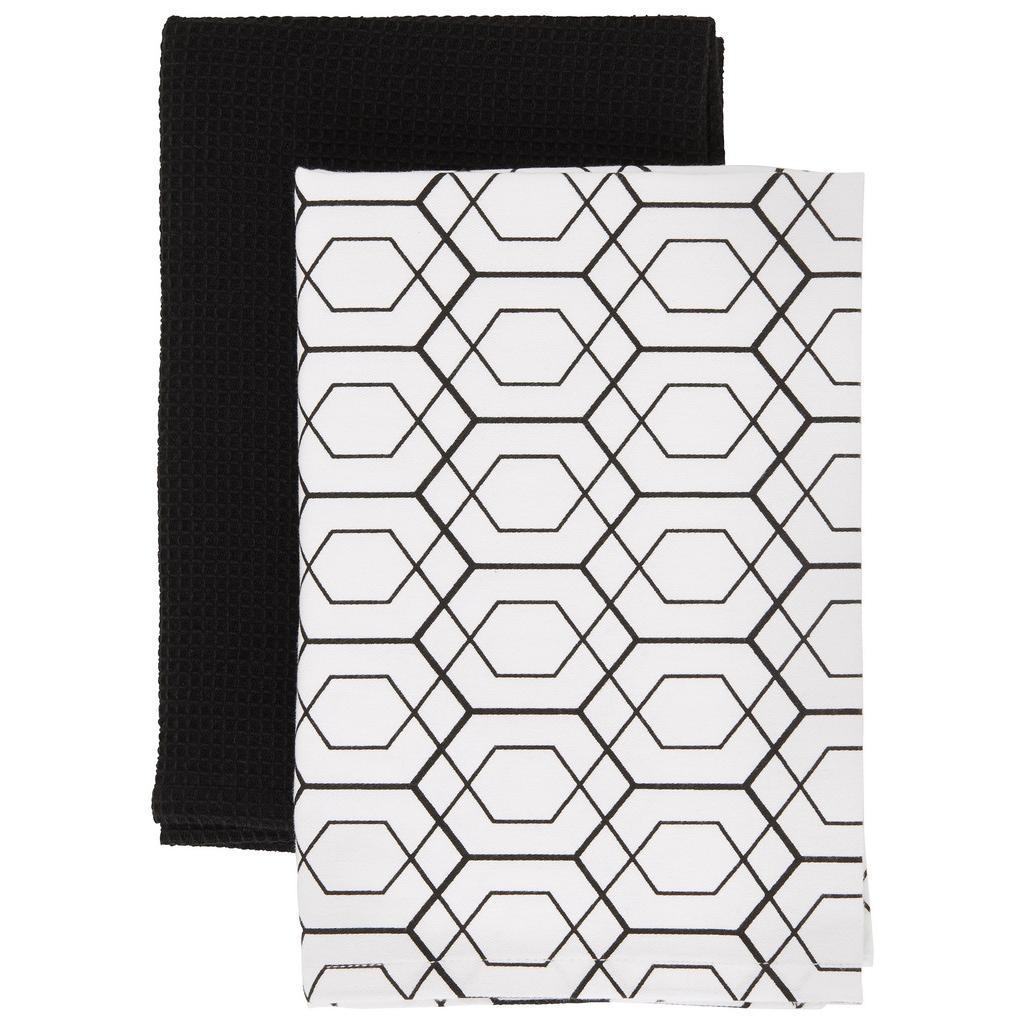 Geschirrtuch-Set Blacky in Schwarz/Weiß