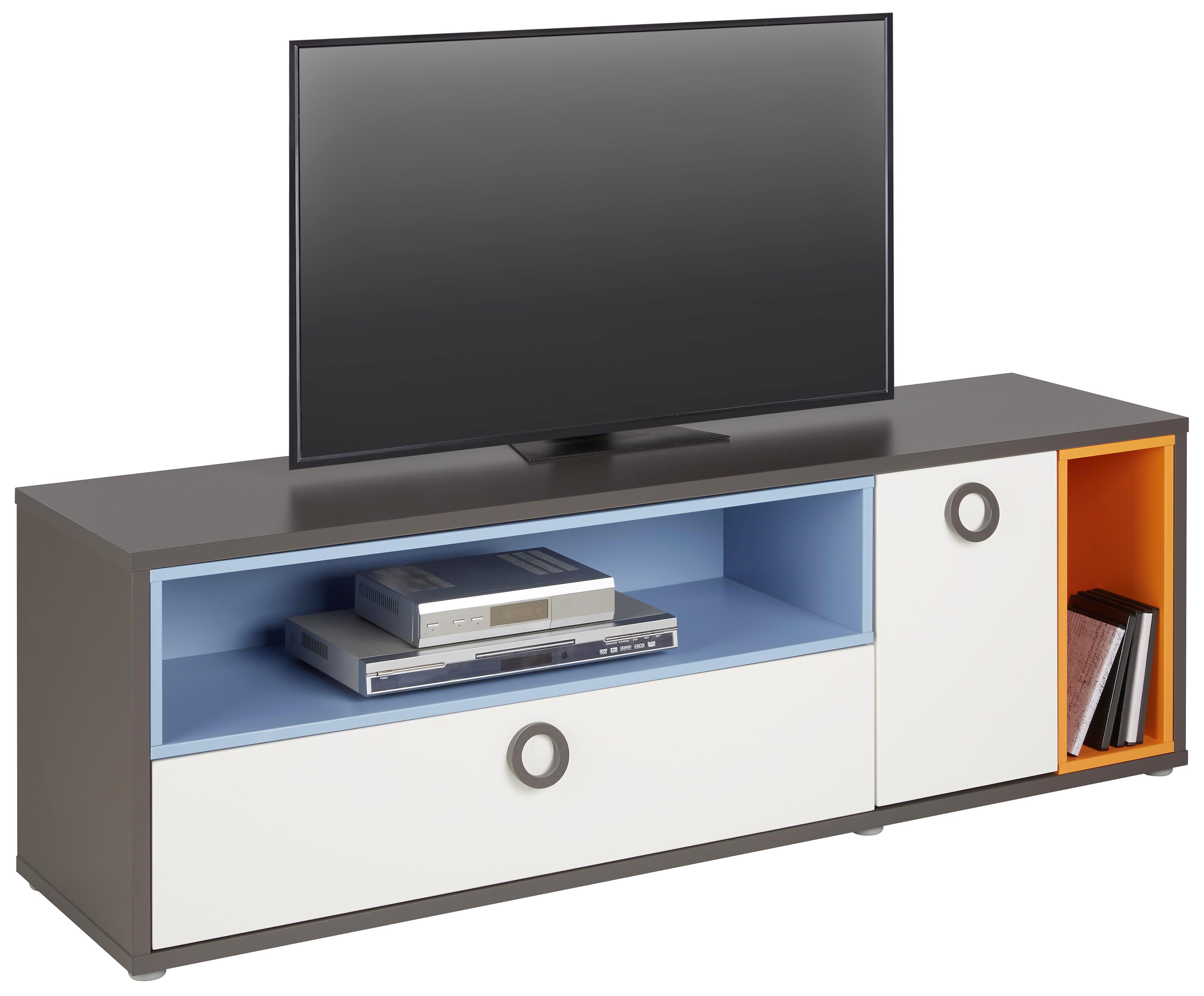 TV-Element Weiß - Blau/Alufarben, KONVENTIONELL, Holzwerkstoff/Kunststoff (155/52/42cm) - MODERN LIVING