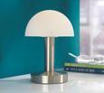 Asztali Lámpa Érintőkapcsolós - Nikkel/Fehér, Üveg/Fém (21cm)