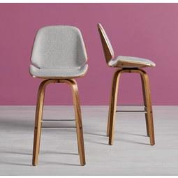 Barhocker Luuk - Silberfarben, Holz/Textil (47/103/50cm) - MODERN LIVING
