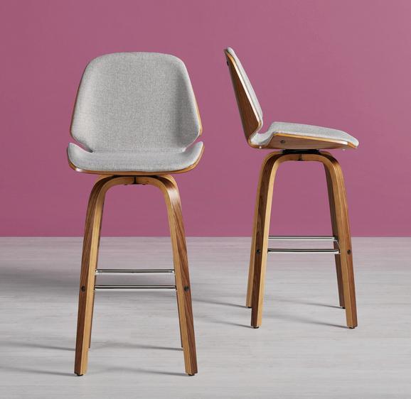Barhocker Luuk - Silberfarben/Walnussfarben, Holz/Textil (47/103/50cm) - Modern Living