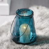 Windlicht in Blau Ø/H ca. 18/24 cm 'Dara' - Blau/Schwarz, MODERN, Glas/Metall (18/24cm) - Bessagi Home